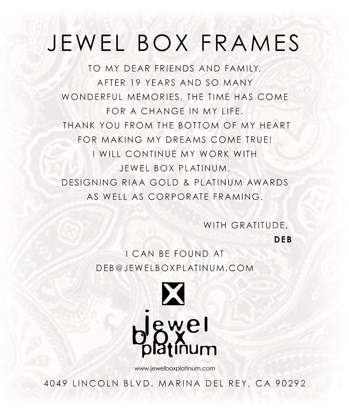 Jewel Box Frames
